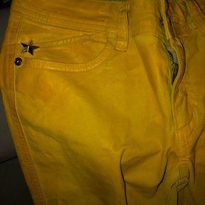 Yellow Wax Coated Roberto Cavalli Jeans